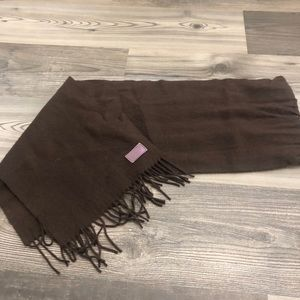Coach Brown Wool Cashmere Fringe Scarf